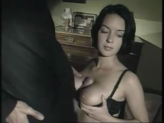 Busty brunette gives a naughty priest head and then fucks him